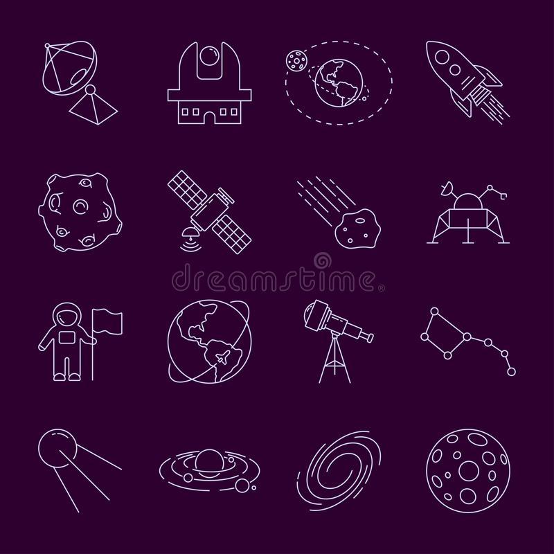 Set of Thin LineVector Astronomy and Space Icons. Spaceman, astronaut, solar system, galaxy, planet, earth, satellite vector illustration