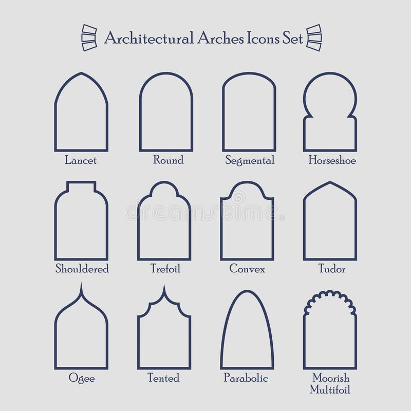 download set of thin outline common types of architectural arches icons stock illustration illustration of