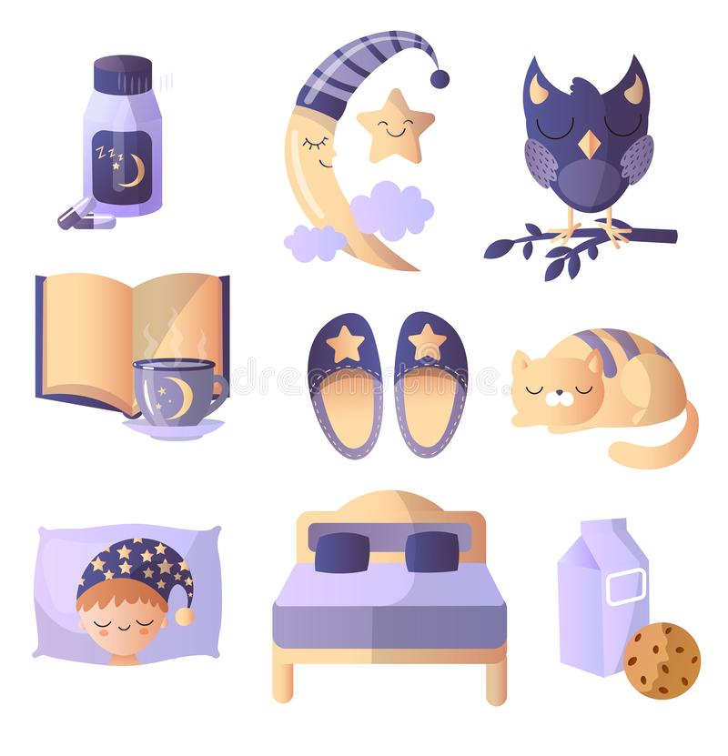 Set of things that are required for a healthy sign. Soft slippers, a book with hot tea, fluffy code, soft bed royalty free illustration