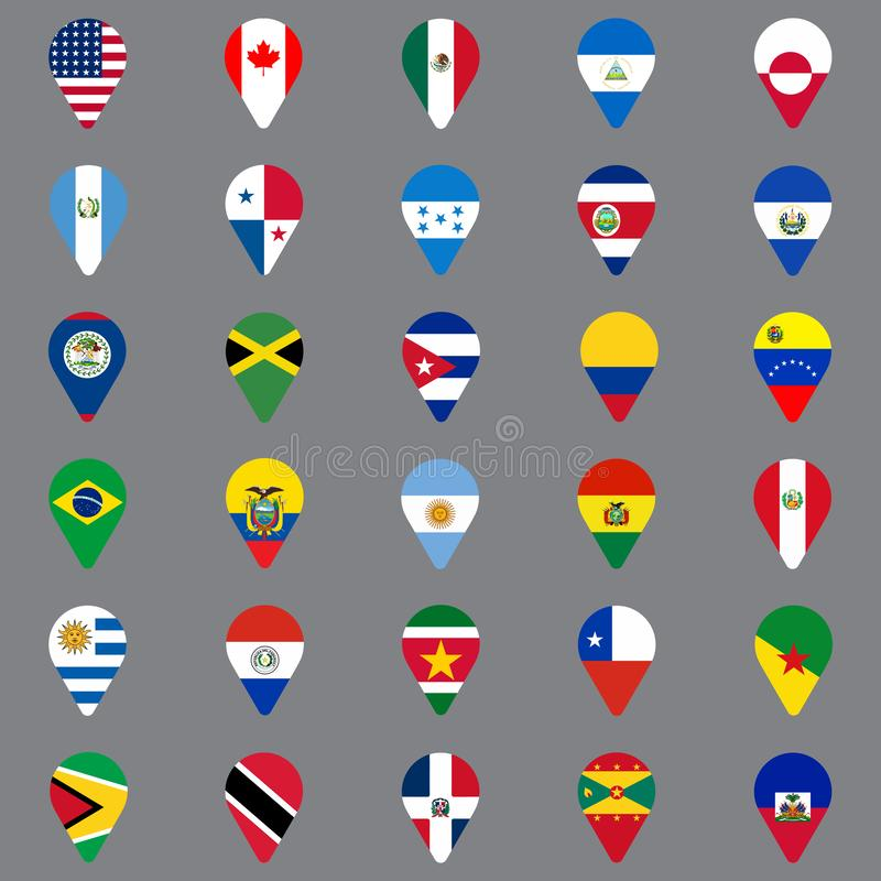 Set of thirty geolocation icons. Flags of North and South American countries in the form of geolocation icons. Geotag icons for yo royalty free illustration