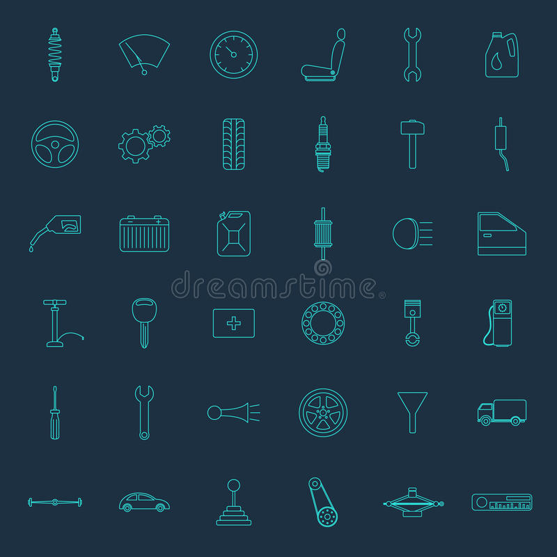 Set of thirty six car parts icons vector illustration