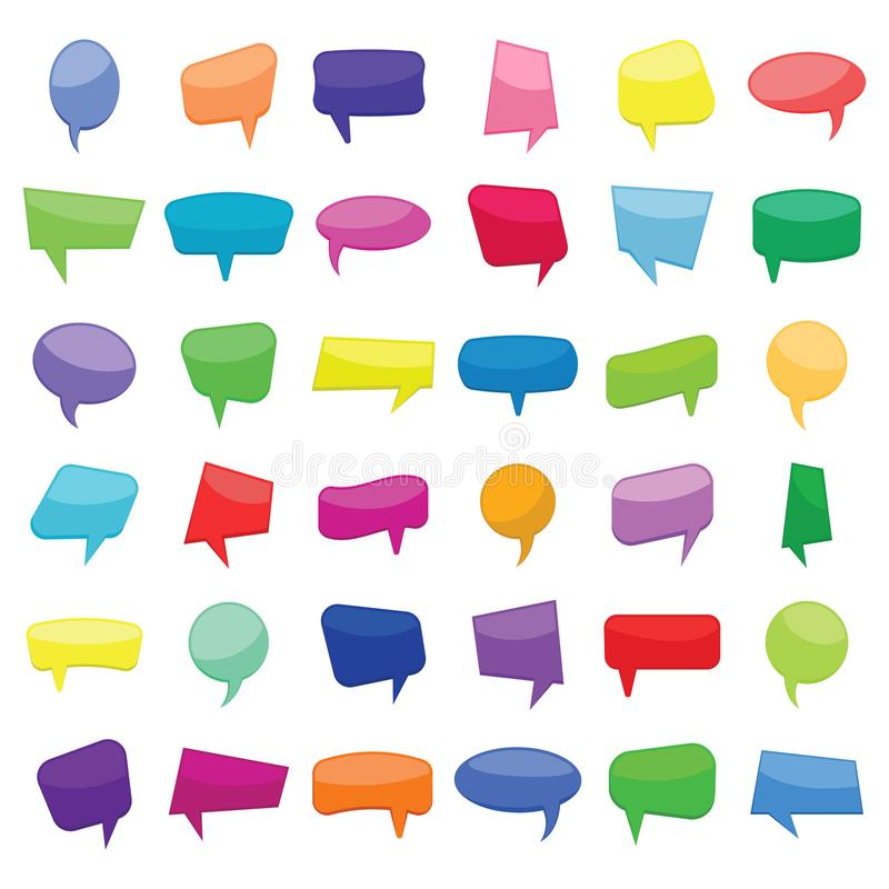Set of thirty six colorful cartoon comic balloons speech bubbles without phrases. Vector illustration royalty free illustration