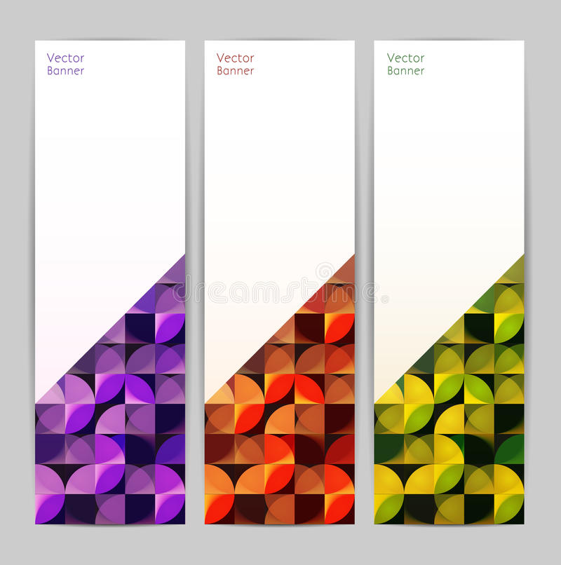 Set of three abstract banners stock illustration