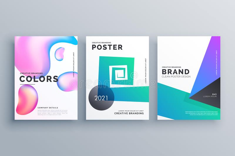 set of three abstract minimal brochure design template for magazine covers vector illustration