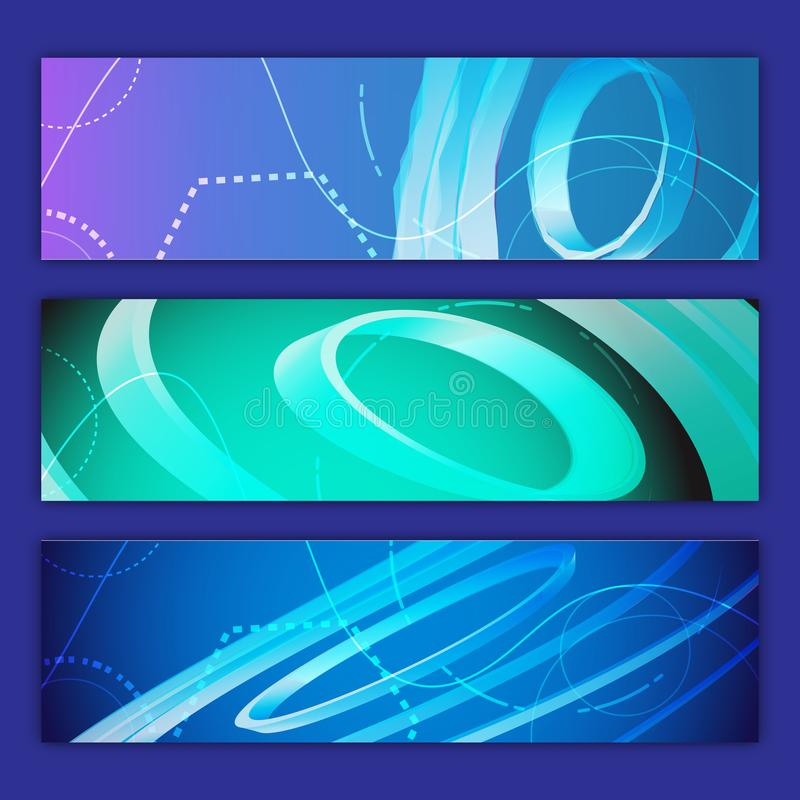 A set of three abstract multicolored backdrops of abstract bright energetic modern digital textures of the future magical fashion stock illustration