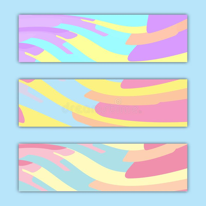 A set of three abstract multicolored backdrops textures of abstract bright energetic magical fashionable blue turquoise waves vector illustration