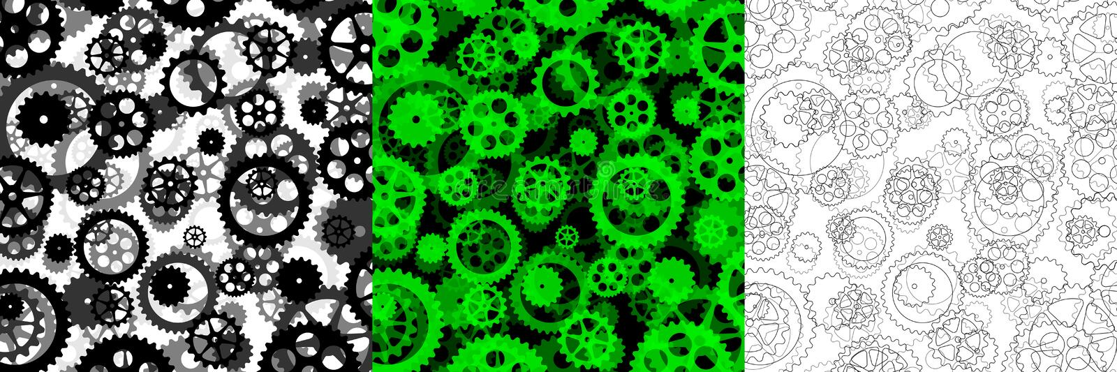 Set of three backgrounds with gears royalty free illustration