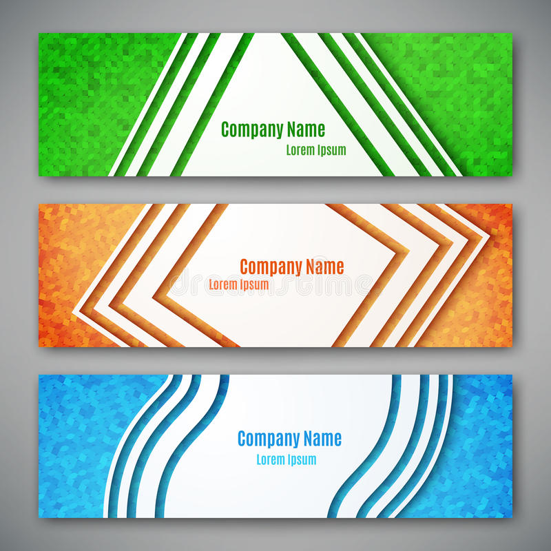 Set of three banners. Abstract headers, vector illustration royalty free illustration