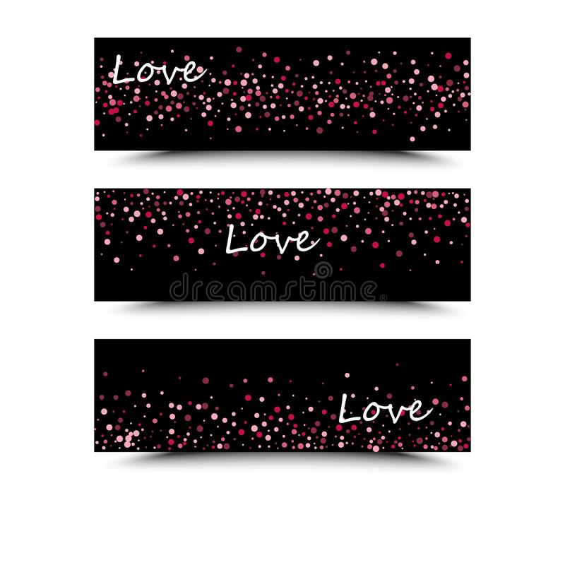 Set of three banners with red hearts. Valentine`s Day. Vector background royalty free illustration
