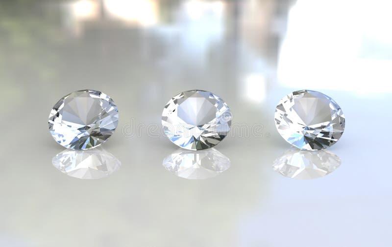 Set of three beautiful round diamonds stock photo