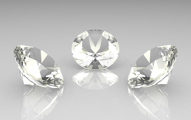 Set of three beautiful round diamonds vector illustration