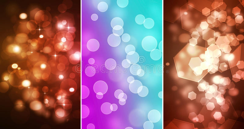 Download Set Of Three Bokeh Backgrounds Stock Photo - Image: 25546370
