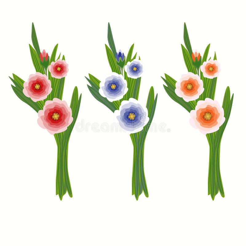 Download Set Of Three Bouquets Stock Image - Image: 21021721