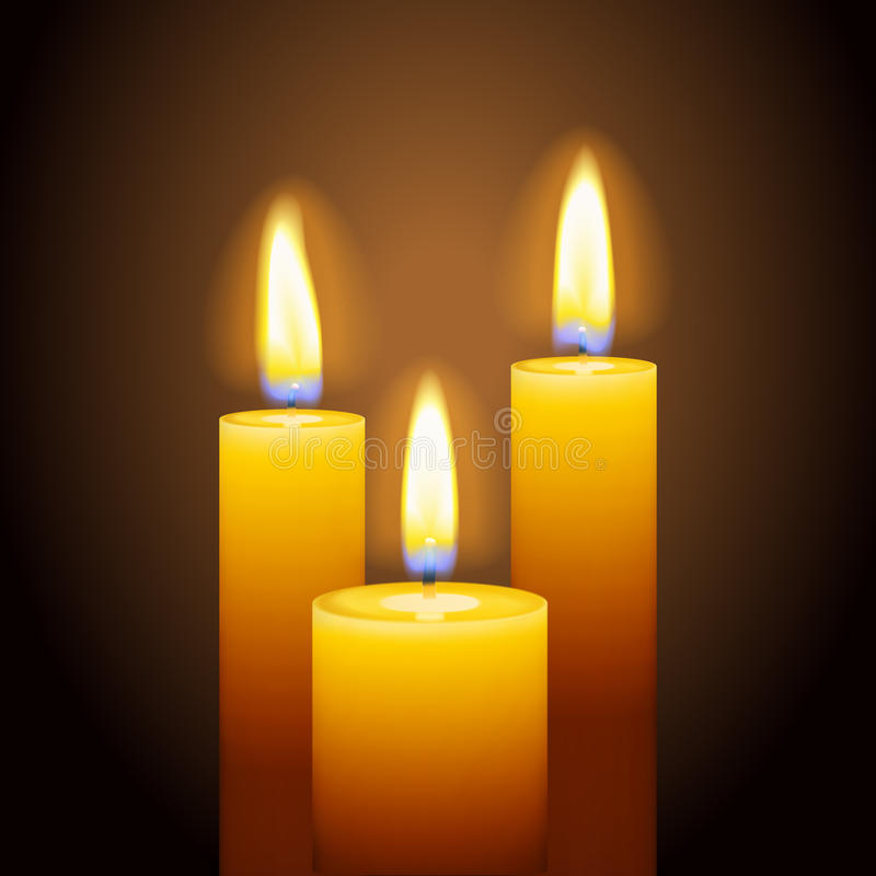 Set of three burning candles. Religious celebration, spa relaxation, memorial event concept. Realistic flame, transparent details. Graphic design element for stock photography