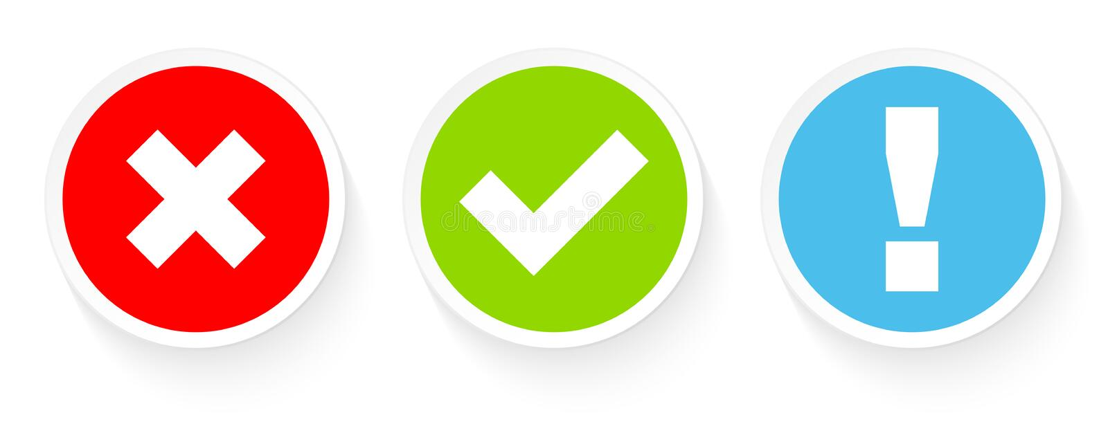 Set Of Three Buttons Checkmarks And Answer Red Green Blue stock illustration