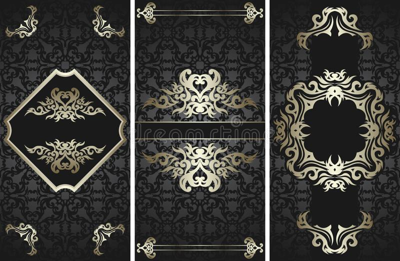 Set of three cards with design floral frames royalty free illustration