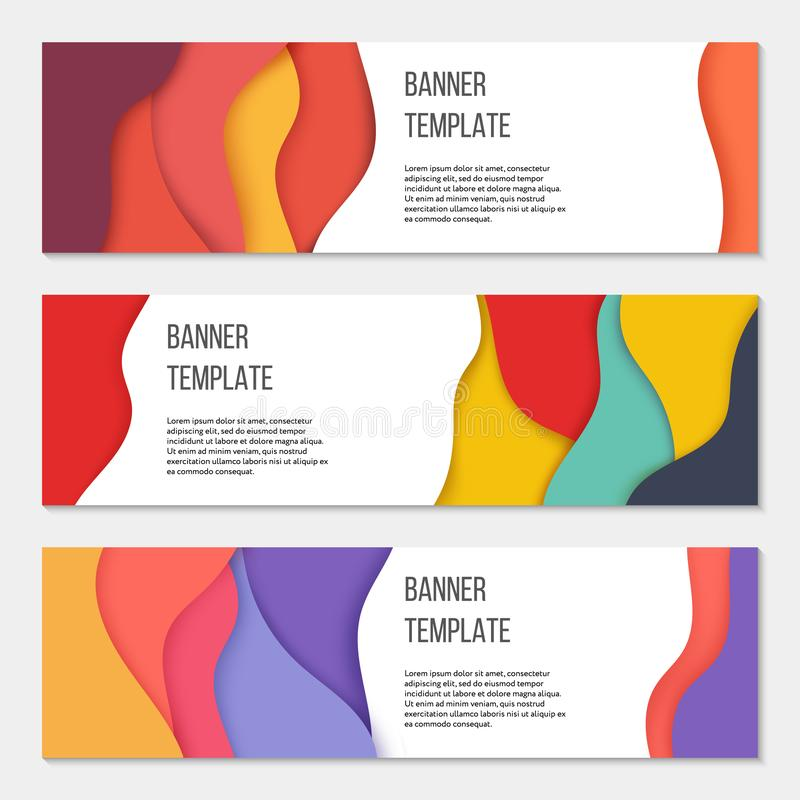 Set of three colorful horizontal business banner templates. Paper cut style. Design concept. Colorful shapes stock illustration
