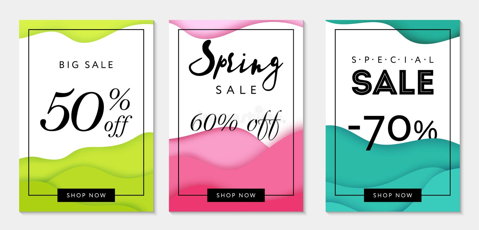Set of three colorful sale banner templates. Paper cut style. Bright backgrounds. Business templates. Can be used as flyer stock illustration