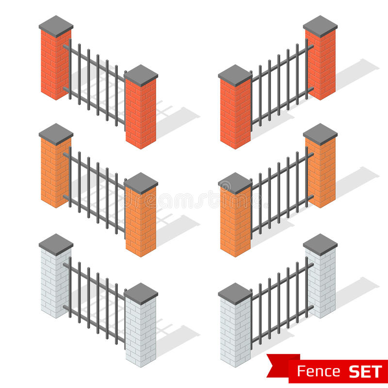 Set of three different color fence sections vector illustration