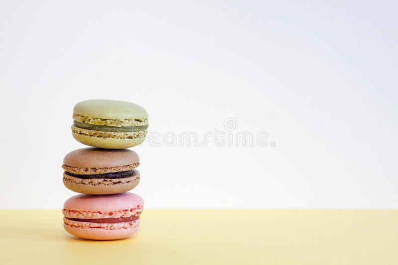 A set of three different macarons stock photo