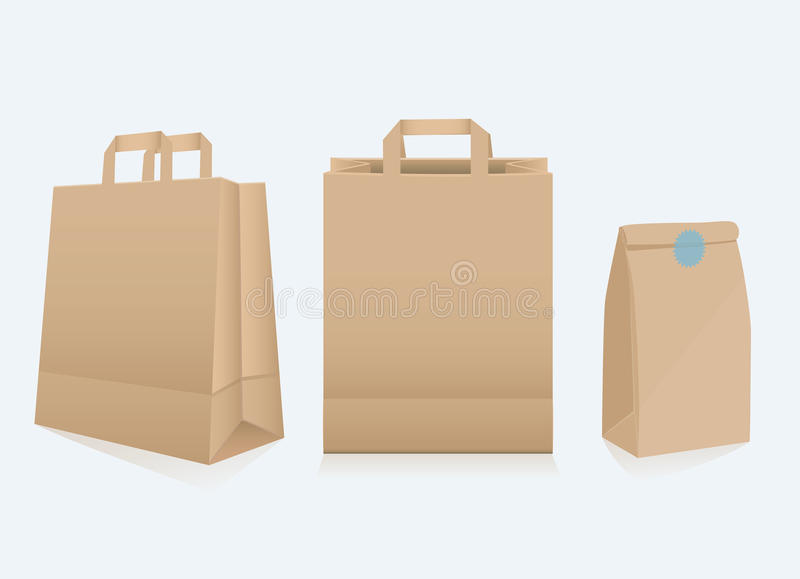 Set of three different paper bags. Set of three different blank recyclable brown paper bags for packaging and shopping , two with handles, illustration on grey vector illustration