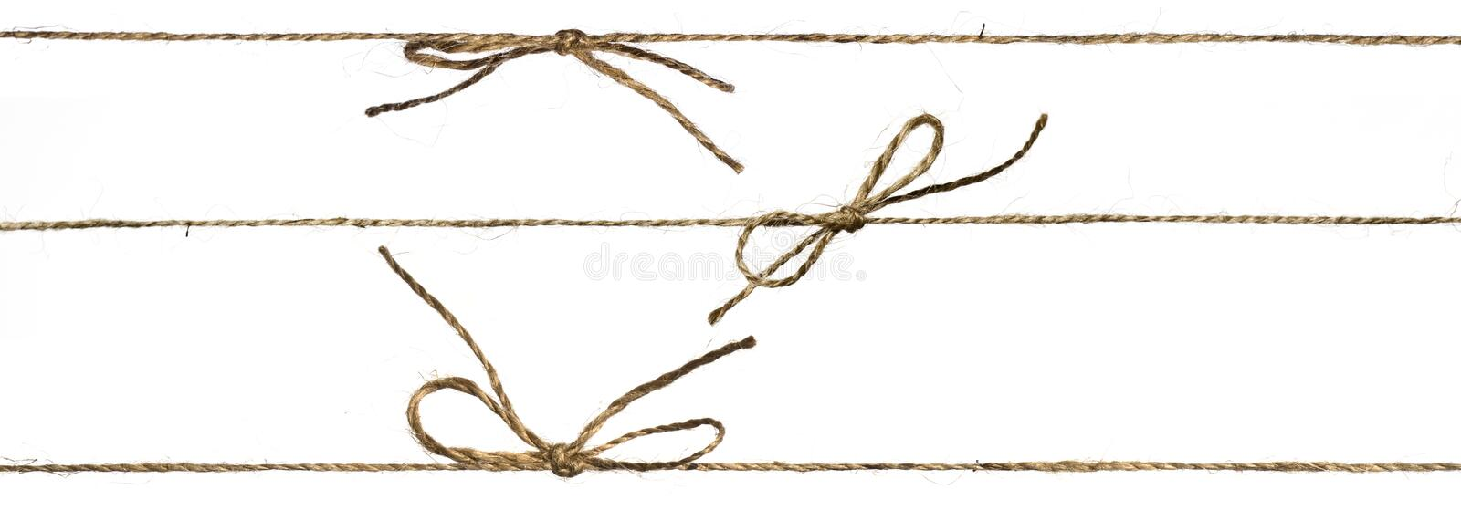 Set of three different string or braided twine tied stock photography