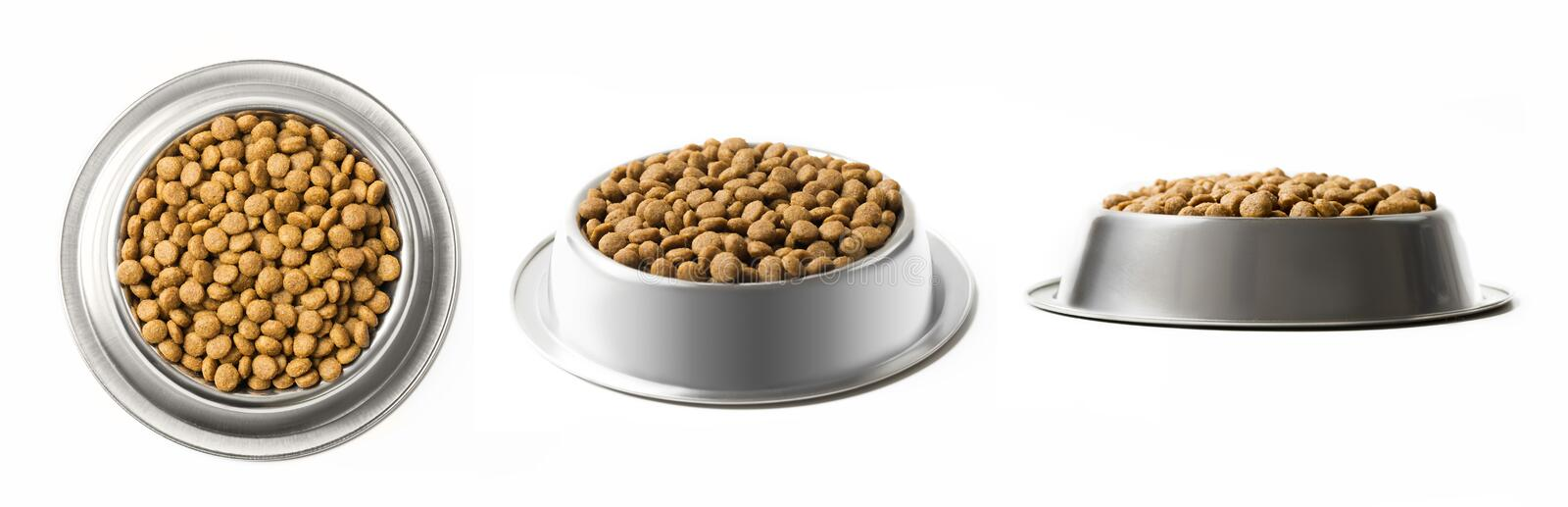 Set of three dishes dry pet food in a metal bowl isolated on white background. Top, half and front view. Set of three dishes dry pet food in a metal bowl stock photos