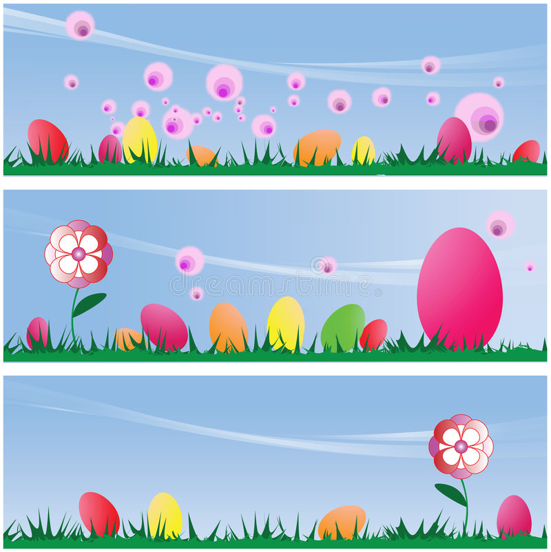Download Set Of Three Easter Scenes Backgrounds Stock Illustration - Image: 4446217