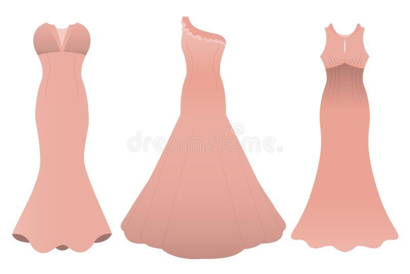 Set of three evening cocktail dresses color of tea rose. Vector illustration stock illustration
