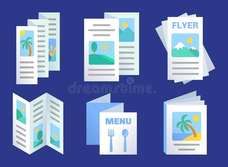 Set of three-fold brochures template, advertisement flyers, paper menu. Product promotion, presentation design, vector illustration in flat style stock illustration