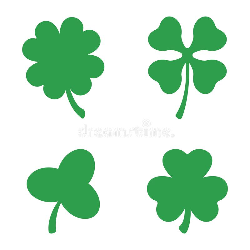 set of three and four leaf clovers vector icon st patricks day rh dreamstime com four leaf clover vector pattern 4 leaf clover vector free download