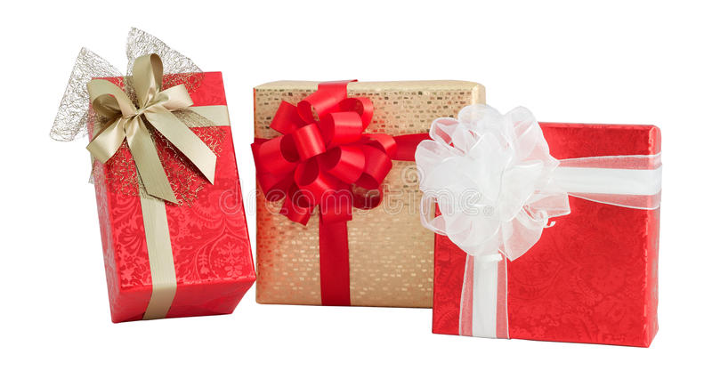 Set three gift box red gold shiny paper wrap ribbon bow isolated. Set three gift box red gold white shiny decor paper wrap ribbon bow christmas anniversary royalty free stock photography