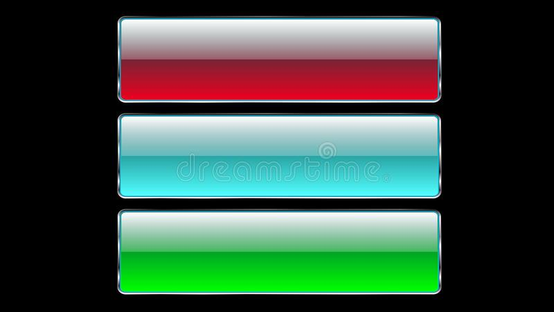 Set of three glass transparent beautiful vector buttons with a silvery metallic frame for clicks, pressing blue, red, green button vector illustration
