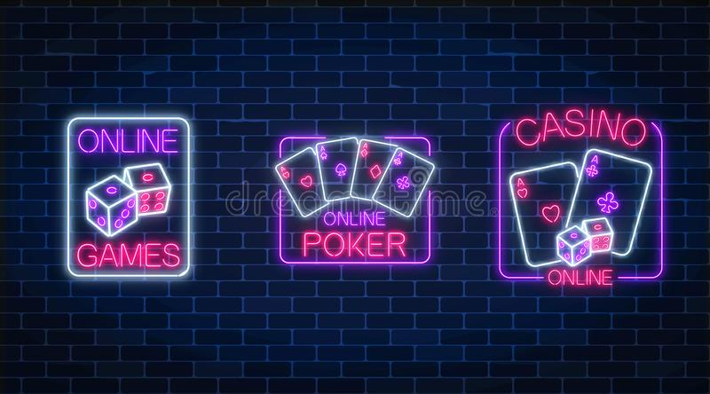 Set of three glowing neon signs of casino online games application. Casino bright signboard. Internet gambling banner. stock illustration