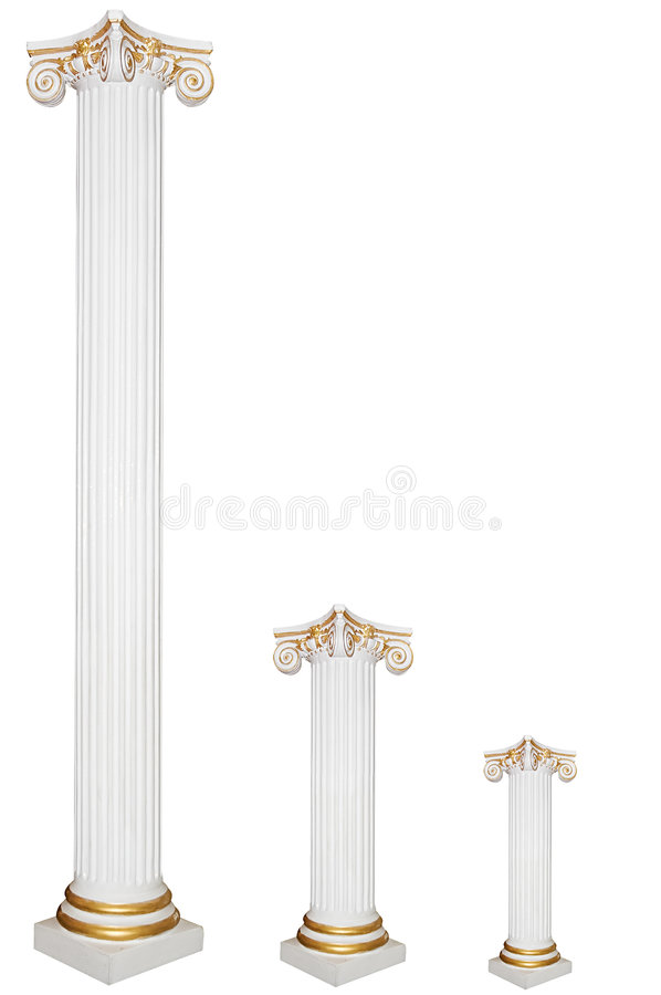 Download Set Of Three Greek Columns, Diffirent Sizes Stock Image - Image: 7050727