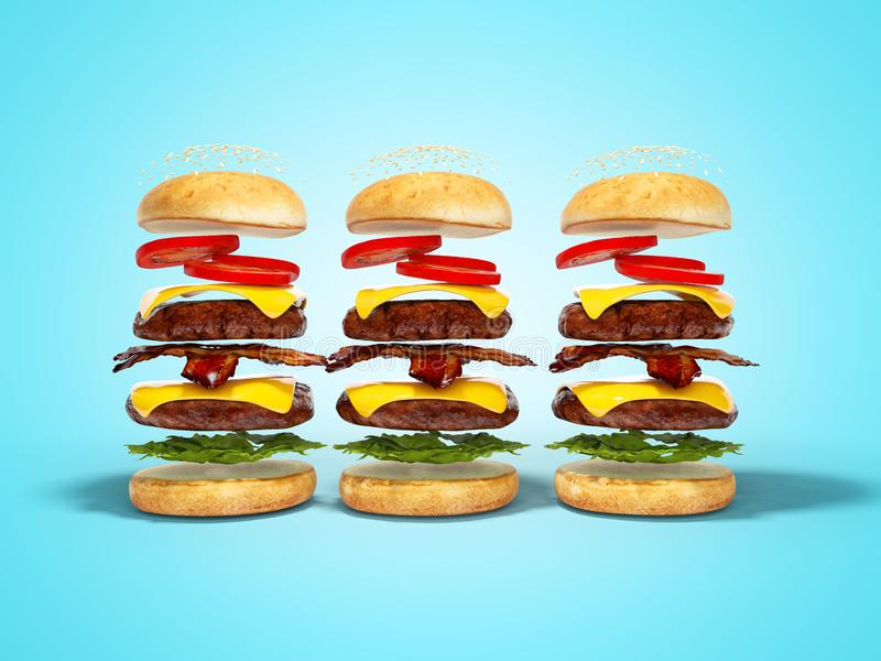 Set of three hamburgers disassembled 3D render on blue background with shadow vector illustration