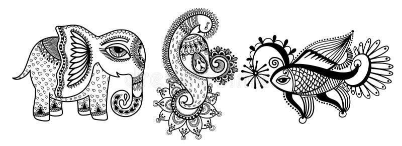 Set of three hand drawing animals - elephant, peacock and fish stock illustration