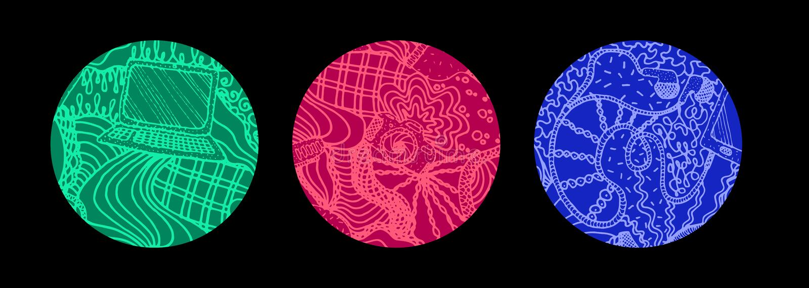 Set of three hand drawn round backgrounds with electrical devices. Set of three colored hand drawn round backgrounds with electrical devices. Backdrop vector vector illustration
