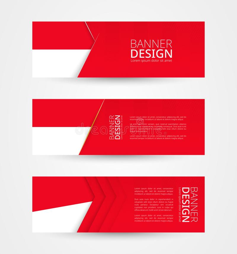 Set of three horizontal banners with flag of Monaco. Web banner design template in color of Monaco flag stock illustration