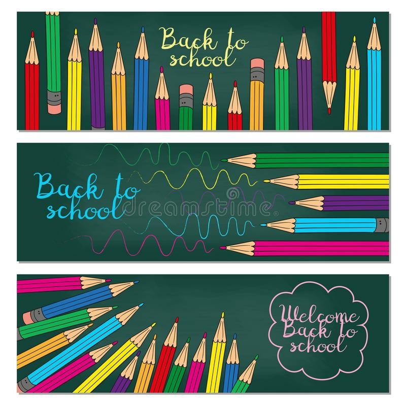 Set of three horizontal banners with multicolored pencils. Doodle back to school background. stock illustration
