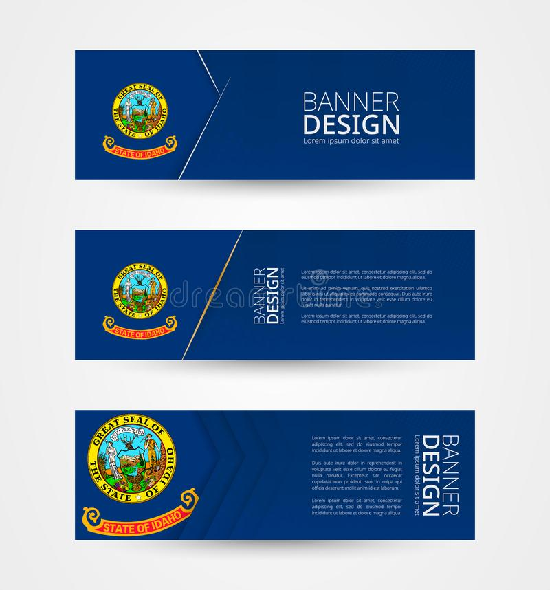 Set of three horizontal banners with US state flag of Idaho. Web banner design template in color of Idaho flag. Vector illustration vector illustration