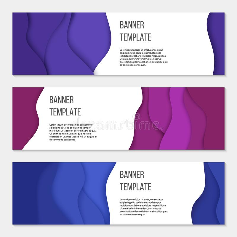 Set of three horizontal business banner templates. Paper cut style. Design concept. Set of three horizontal business banner templates. Paper cut style. Business stock illustration