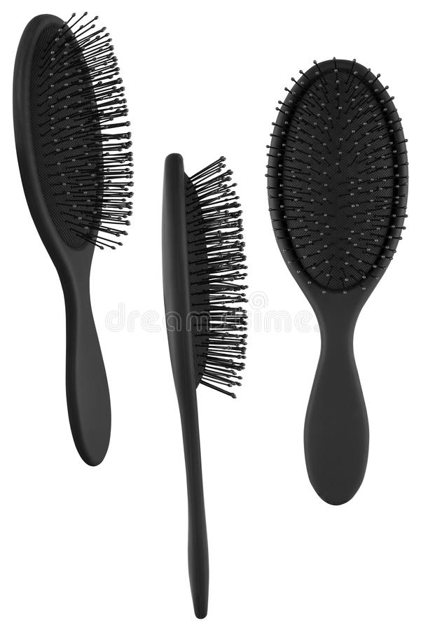 Set of three instances of an elegant black hair comb brush with handle, isolated on transparent or white background.  stock photo