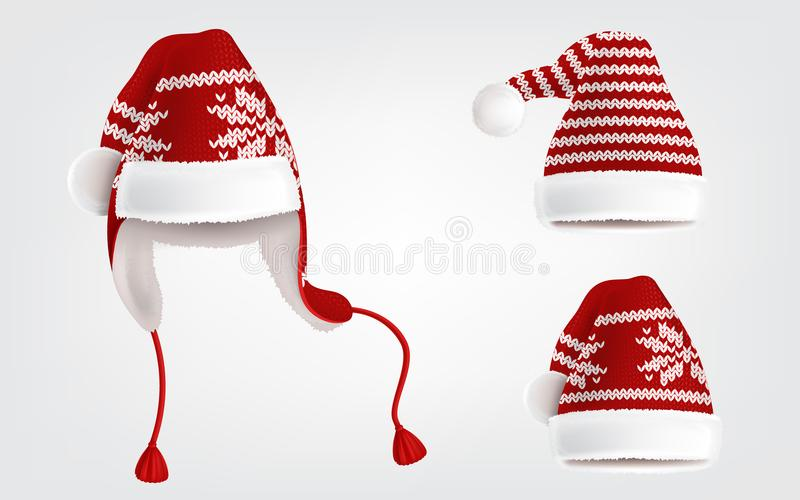 Set of three knitted santa hats with pattern stock illustration