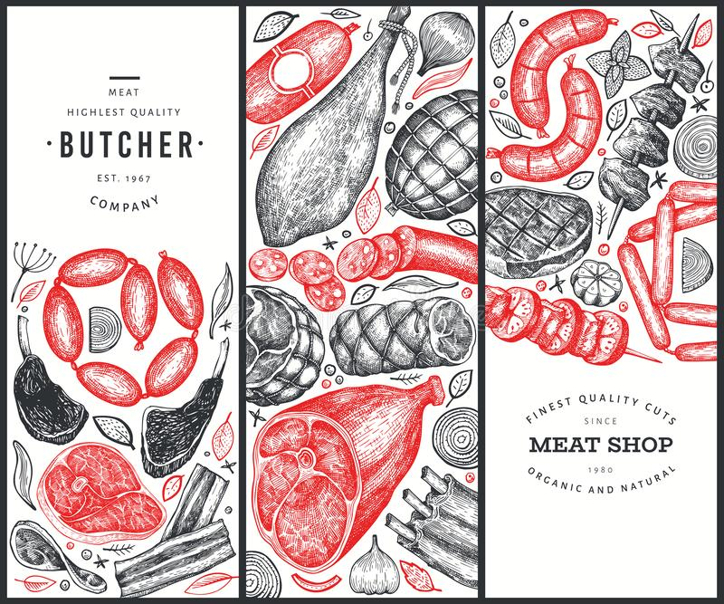 Set of three meat products design templates. Vector hand drawn ham, sausages, steaks, jamon, spices and herbs. Retro illustrations royalty free illustration