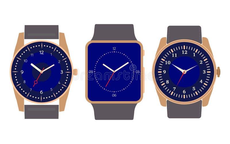 Set of three mechanical watches stock illustration