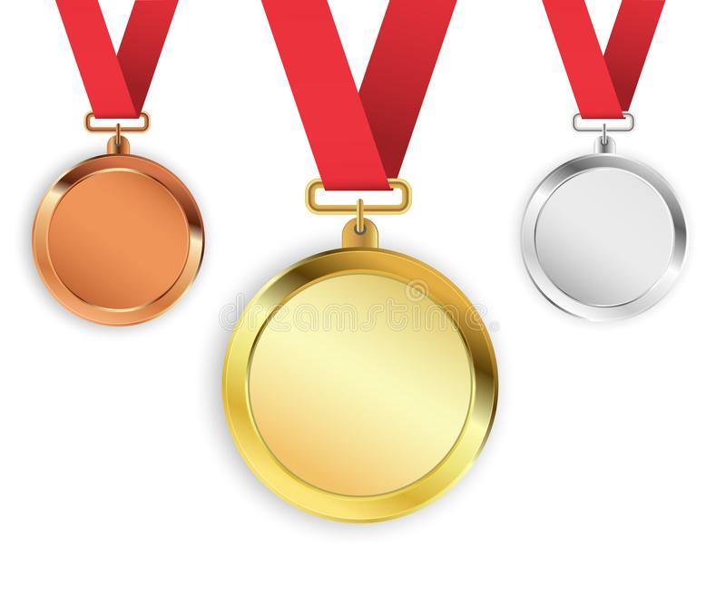 Set of three medals isolated on white background. Gold, silver, bronze medallions. Vector illustration stock illustration
