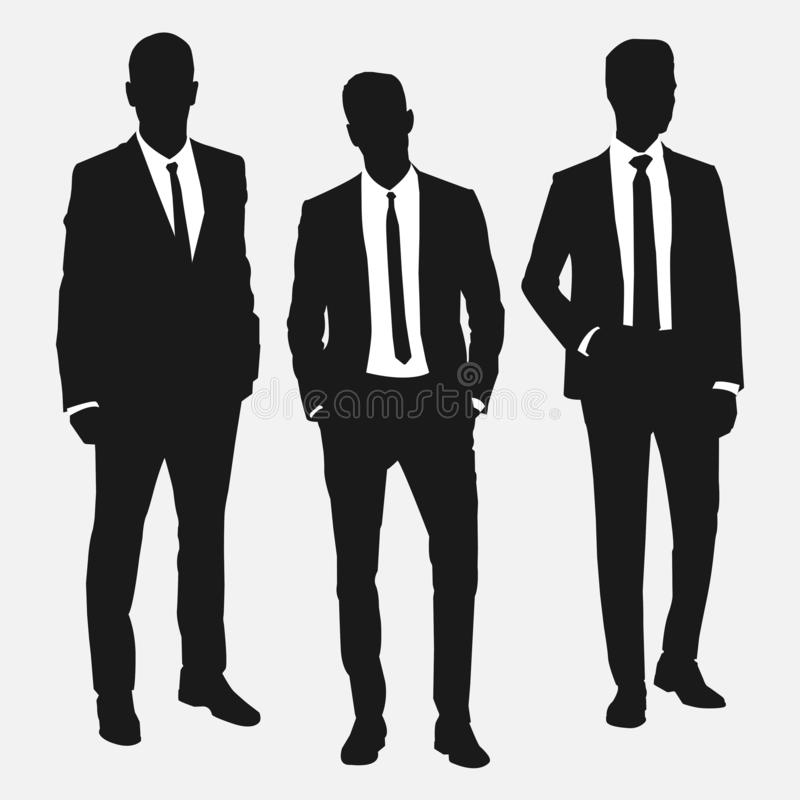Set of three men in suits. Black and white vector illustration vector illustration