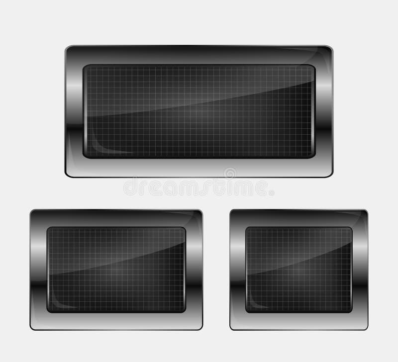 Set of three metal banners. vector illustration