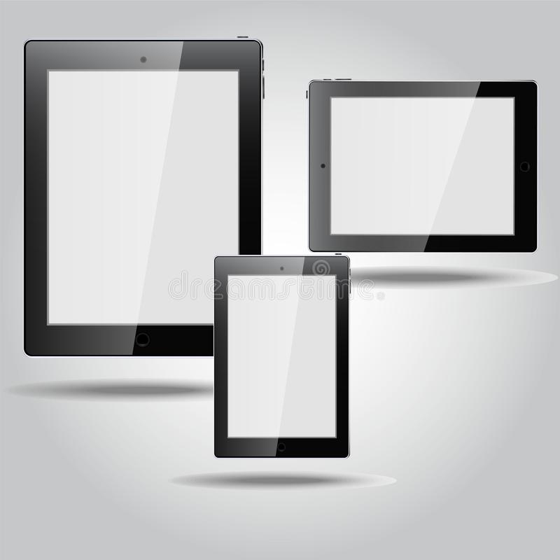The set of three mobile devices. Tablet and phone on the gradient background. made with the technique of turn and glare. colors to illustrate white, grey and vector illustration